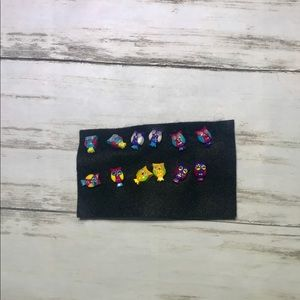 6 pairs of Claire's owl earrings